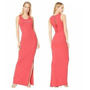 BEBE Lacing Detail Maxi Dress Hibiscus Red Ribbed